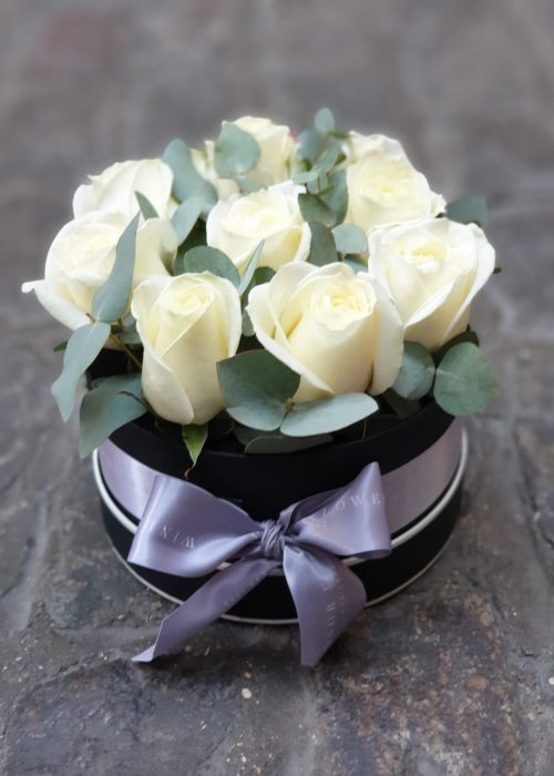White Rose Round Hatbox
